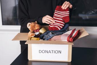 Woman with donation box