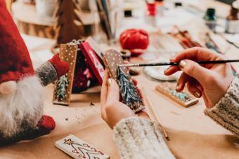 Woman Making Christmas Ornaments