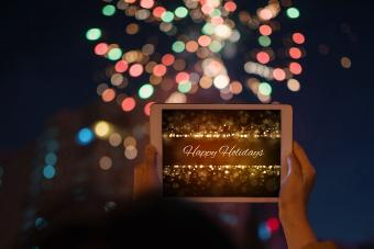 Tablet showing interactive Christmas card