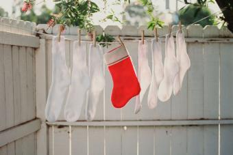Christmas stocking on Clothesline