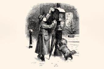 POST A LETTER TO SANTA CLAUS. Vintage etching circa late 19th century.