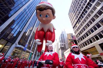 Elf on the Shelf balloon is seen during Thanksgiving Day Parade