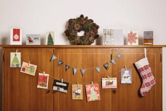 Christmas cards in living room