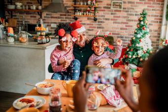 family during breakfast on Christmas