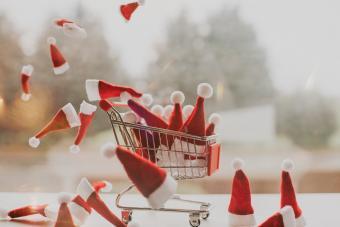 Santa hats in a shopping Cart