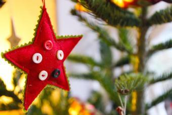 Red felt star Christmas decoration