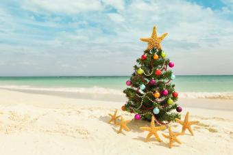 Christmas tree on sandy beach