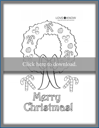 wreath coloring card