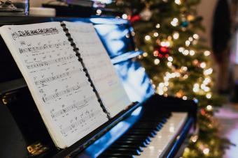 Sheet music on piano