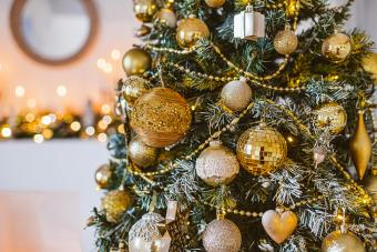 Christmas living room decoration, white and gold colors interior decoration background