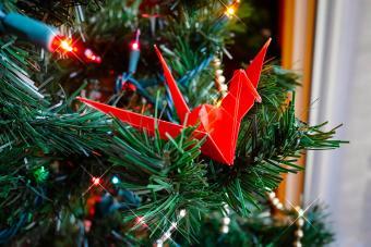 Origami bird in Christmas tree