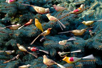 Artificial birds decoration on the Christmas tree