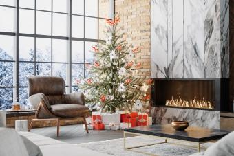 Luxury Living Room With Fireplace And Christmas Decoration