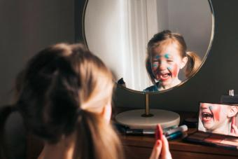 Child playing with Makeup