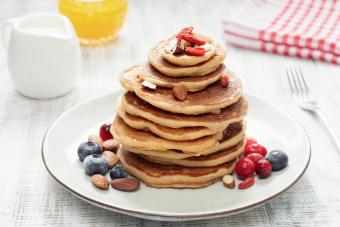 Stack of oat pancakes with berries