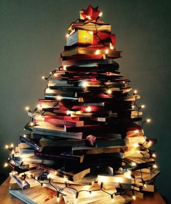 Illuminated Christmas Lights On Books