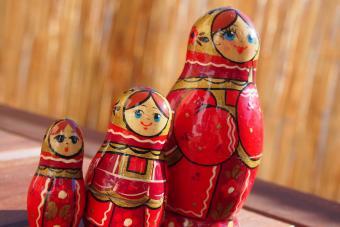 Red Matryoshka Dolls On Table
