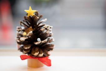 Miniature Christmas tree made on pinecone