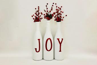 Chalky White Wine Bottle Decor - Joy