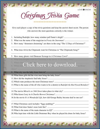 Christmas Trivia Games Printable