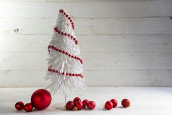 Small Christmas Tree With Red Garland