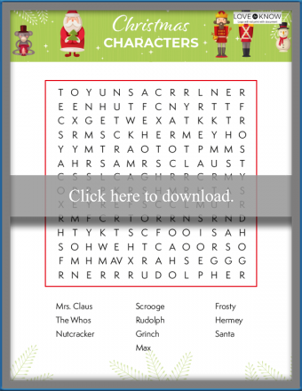 Christmas Characters Word Search