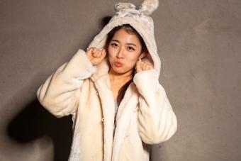 Woman wearing pajamas in rabbit costume