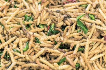 Fried larvas in a night market
