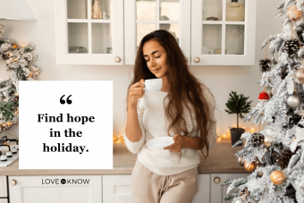 woman enjoying coffee in Christmas morning