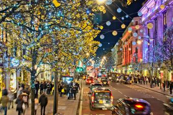 Christmas Shopping In the evening with all the christmas lights