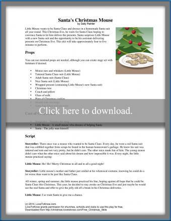printable Christmas play Santa's Christmas Mouse