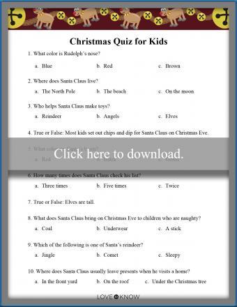 printable children's Christmas quiz