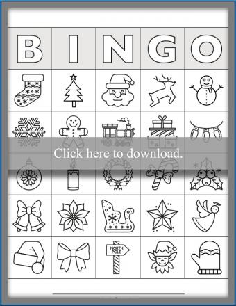 Black & White Line Art Christmas Bingo Cards