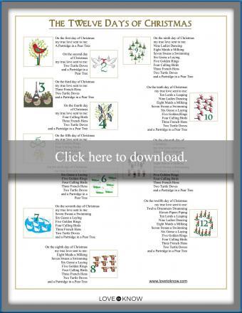 Printable song lyrics Carols 12 Days of Christmas