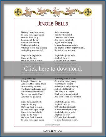 Printable Christmas Carol song lyrics Jingle Bells