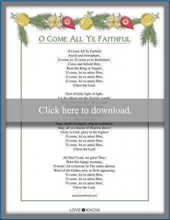 Printable Christmas Carol song lyric O Come All Ye Faithful