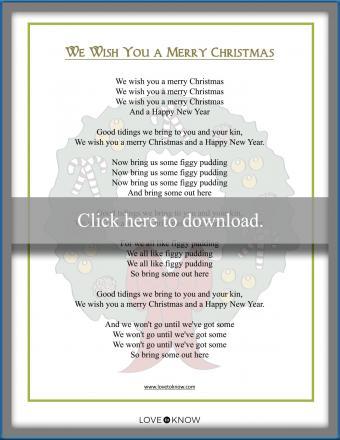 Printable Christmas Carol song lyrics We Wish You a Merry Christmas