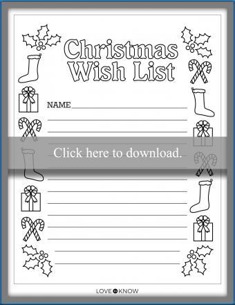 christmas wish list coloring page printable
