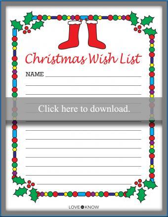 Christmas Wish List Printable PDF