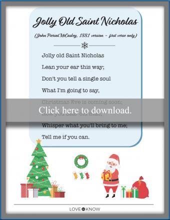 printable song lyrics Jolly Old Saint Nicholas