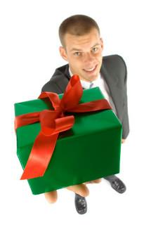 Man holding a Christmas gift