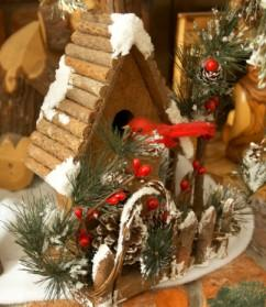 Bird house and Cardinal Christmas decoration