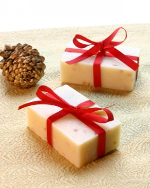 nautral soap with Christmas ribbon