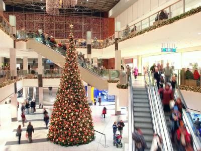 shopping mall at Christmas