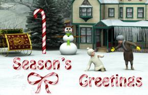 Printable kids and snowman Christmas card