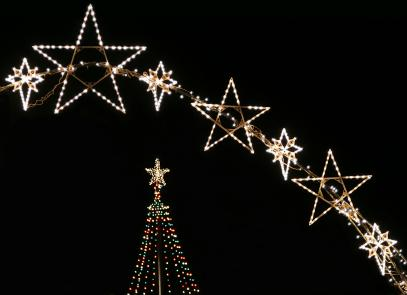 christmas star outside decoration light