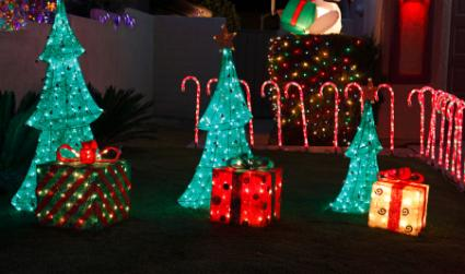 lighted christmas outdoor decorations - Lighted Christmas Tree Yard Decorations