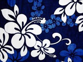 Hawaiian plumeria print in blue and white