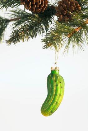 Christmas pickle hanging on tree