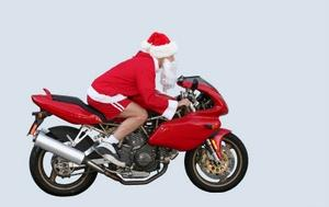 Give Santa a new ride with motorcycle-themed Christmas cards.